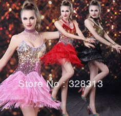 Sequined Fringed Skirts Stage Wear DS Night Club Sexy Party Latin JAZZ Tango Dance Dresses Clothes $48.00