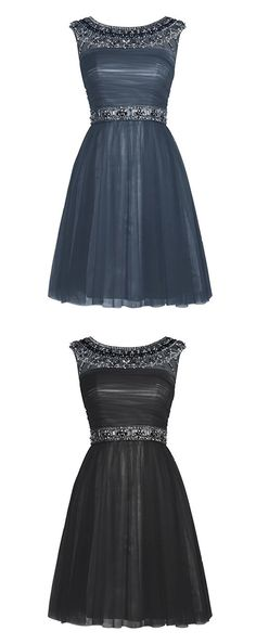 homecoming dress, scoop neck homecoming dress, tulle prom homecoming dress, short prom dress, black prom dress, sleeveless prom dress