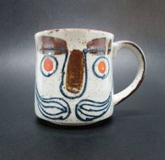 Vintage Hand Painted Mustache Mug Coffee Cup Funny Face Stoneware Japan Gift