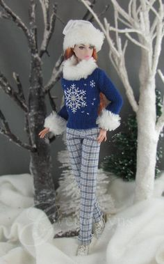 SNOWFLAKE BLUES Sweater Set for 11 12 dolls