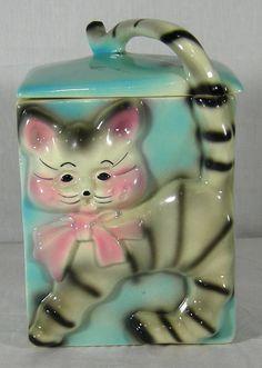 Ungemach American Bisque Cat Kitten Cookie Jar Blue White Pink
