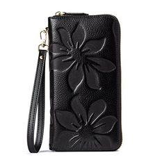 BOSTANTEN Women's RFID Blocking Leather Wallets Credit Card Cash Holder Checkbook Clutch Designer Wristlet Black #wallet