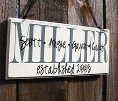 Personalized Family Wood Sign Home Decor Established Date.... $23.00, via Etsy.