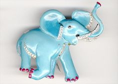 Trifari 'Alfred Philippe' Rhinestones and Enamel Blue Elephant Pin Clip