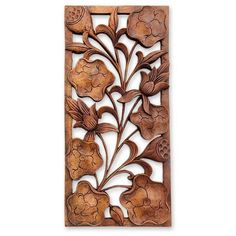 NOVICA Floral Wood Relief Panel (£46) ❤ liked on Polyvore featuring home, home decor, art gallery, brown, floral designs, sculpture, wood - relief panels, novica home decor, floral sculpture and novica