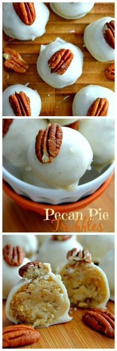 Easy, delicious pecan pie truffles that taste just like pecan pie but without all the fuss! Easy, delicious pecan pie truffles that taste just like pecan pie but without all the fuss! Candy Recipes, Sweet Recipes, Holiday Recipes, Cookie Recipes, Dessert Recipes, Just Desserts, Delicious Desserts, Yummy Food, Winter Desserts