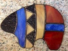 Bear fetish stained glass suncatcher by BetterSpaces on Etsy Stained Glass Mirror, Stained Glass Cookies, Stained Glass Ornaments, Stained Glass Christmas, Stained Glass Suncatchers, Stained Glass Panels, Stained Glass Projects, Stained Glass Patterns, Fused Glass