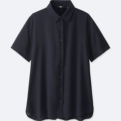 WOMEN RAYON SHORT-SLEEVE BLOUSE, NAVY