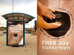 """Cutting your sun exposure is easier than cutting out a skin cancer. Free 30+ sunscreen. There is nothing healthy about a tan."""