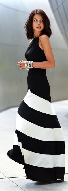 Black White Chiffon Stripe Sleeveless Maxi Casual Dress