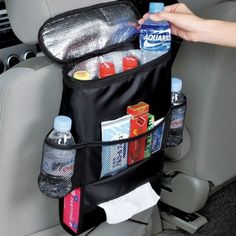 Excellent organizer for your vehicle. It has a container for food, to keep it cold or hot for 2-3 hours, keep your car tidy and clean, and always have something to eat during your travels .... and the