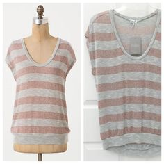 """NEW Anthropologie Twinkle Bands Top Striped Anthropologie Splendid Twinkle Bands Top, Rose Gold / Gray, super lightweight, Size XS (could also fit a Small), NEW with tags 🌟 Metallic stripes shimmer across Splendid's scoopneck.  Rayon, metallic fibers, spandex  24""""L  Made in USA Anthropologie Tops"""