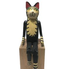 "Wooden Cat Figurine Shelf Sitter Jointed Legs Painted Vintage 14"" Tall"