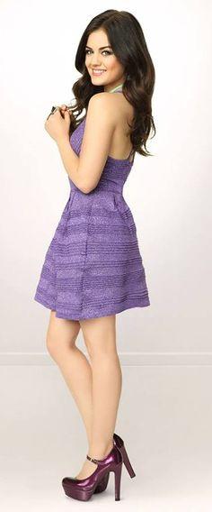 Lucy Hale/Aria Montgomery wears Purple Dress during Pretty Little Liars Season 4 Promo Shoot Pretty Little Liars Actresses, Pretty Little Liars Fashion, Pll, Lucy Hale Outfits, Lucy Hale Style, Aria Style, Spencer, Aria Montgomery, Fashion Cover