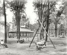 Detroit, Michigan, circa 1900, Scene in Clark Park