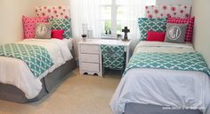 Pink Spirit Blue and Grey Design Ur Own Coordinating Dorm. Custom made dorm room bedding. Matching your roommate.