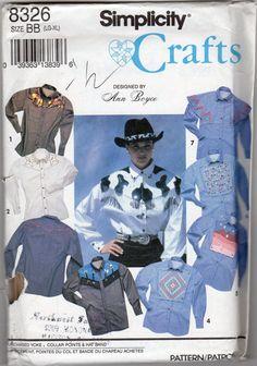 Womens & Mens' Western Shirt Pattern  Size Large by JeaniesShop, $5.00