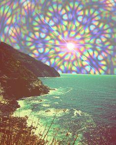 Stained glass kaleidoscope beach sky