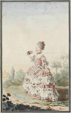 Portrait de Mademoiselle d'Azincourt, fille de l'intendant des menus, en pied, de profil, portant une robe rose à paniers, tenant un masque, dans un jardin, 1759 Louis Carrogis dit Carmontelle