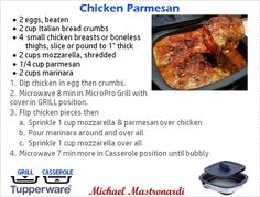 grilled chicken parmesan Love my micro pro grill! Contact me to get yours. I can help you get it at an amazing price! Grilled Chicken Parmesan, Grilled Chicken Recipes, Tupperware Recipes, Microwave Recipes, Microwave Grill, Tupperware Pressure Cooker, Pressure Cooker Recipes, Dessert For Dinner, Dinner Menu