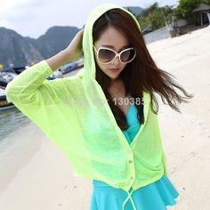 New 2014 Summer Short-sleeved Hooded Jacket Sunscreen Shawl Sweater Buckle Women Thin Sun Protection Shirt 12 Colors For You US $8.52