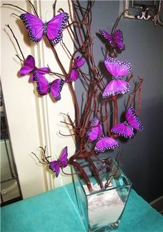 Trendy Bridal Shower Centerpieces With Pictures Center Pieces 27 Ideas Butterfly Centerpieces, Bridal Shower Centerpieces, Butterfly Decorations, Butterfly Crafts, Baby Shower Decorations, Flower Arrangements, Butterfly Birthday Party, Butterfly Baby Shower, Baby Shower Purple