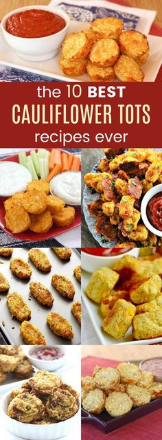 The 10 Best Cauliflower Tots Recipes Ever - kids and adults love cauli-tots for a delicious and healthy appetizer or side dish packed with veggies. These cauliflower tot recipes are flavors with things like cheddar cheese, bacon, Buffalo hot sauce, Mexica Best Vegetable Recipes, Healthy Pizza Recipes, Healthy Appetizers, Appetizer Recipes, Healthy Snacks, Healthy Eating, Meatless Recipes, Healthy Sides, Vegetarian Meals