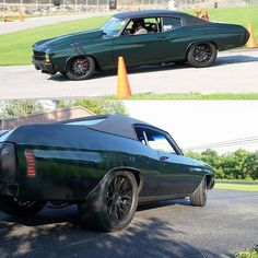 #BecauseSS UMI Performance Inc. 71 chevelle concave wheels mesh. fender rally stripes pro touring hood scoop