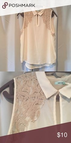 Sleeveless Kimchi Blue Lace Tank Ivory color. 100% polyester. Urban Outfitters Tops Tank Tops