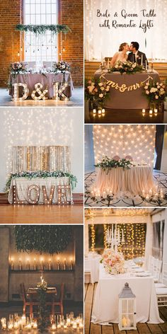 Sweetheart bride and groom wedding table ideas with romantic lights