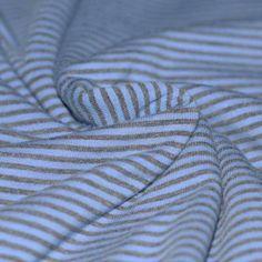 Baumwolljersey Streifen 3mm Jeans Grau Meliert