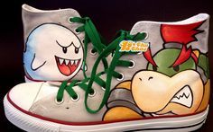 Bowser #Shoes Bowser High-top Painted Canvas Shoes,High-top Painted Canvas Shoes