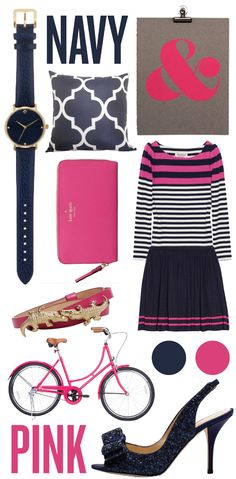 Navy and pink is a playful, feminine palette and a Matchbook Girl signature! Here's how we'll be sporting it this summer…