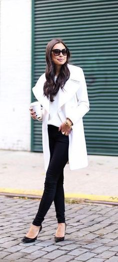 #winter #fashion / white coat