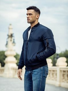 Pánska modrá bomber bunda MNAK-95B Parka, Men Sweater, Outfit, Sweaters, Mens Tops, T Shirt, Fashion, Outfits, Supreme T Shirt