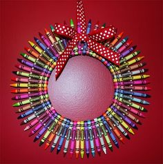 Crayon Wreath - Gonna be my favorite holiday decoration come first day of school!