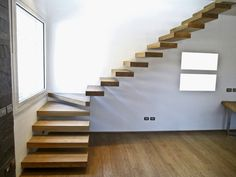 Stairs In Living Room, House Stairs, Home Stairs Design, Modern House Design, Loft Staircase, Modern Stairs, Floating Stairs, Concept Home, Home Deco