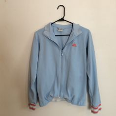 Baby Blue Adidas Zip Up Jacket Super cute adidas jacket in a baby blue color with orange accents. Great condition! Adidas Tops Sweatshirts & Hoodies