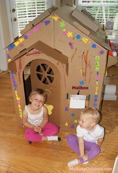 Cardboard playhouse that is easy to put together, sturdy, and kids can decorate.