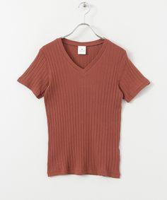 リブ編みVネックTシャツ