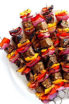This Korean Steak Kabobs recipe is made with a super-easy, flavorful marinade, and grilled to perfection with any vegetables you'd like. So flavorful and delicious!!
