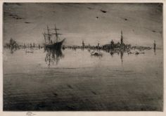James McNeill Whistler - Nocturne, from the First Venice Set, Etching and drypoint. Impressionist Paintings, Impressionism, James Abbott Mcneill Whistler, Art For Art Sake, Nocturne, American Artists, Collie, Art Images, Printmaking
