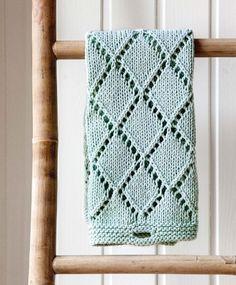 Strikket mintgrønt gæstehåndklæde | ISABELLAS Crochet Stitches Patterns, Knitting Stitches, Knitting Patterns Free, Free Knitting, Baby Knitting, Stitch Patterns, Knitted Washcloths, Knit Dishcloth, Knitted Blankets