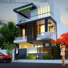House Outer Design, House Front Design, House Design Photos, Modern House Design, Residential Building Design, Home Building Design, House Architecture Styles, Modern Architecture Design, 2 Storey House Design