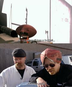 Adam with his football hat. -- Mythbusters, funny moments