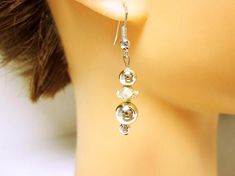 Silver Boho Earrings Two Sizes Round Silver Beads And
