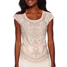 jcpenney.com | Be by CHETTA B Short-Sleeve Scoopneck Beaded Top