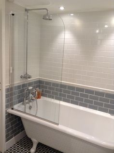 Grey &a White Tiles | Victorian Freestanding Bath | Burlington Hampton | Bathroom