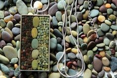 I really like the organic mosaics created by Etsy artist, Pretty Good. Each piece is created with multi-colored stones and pebbles from the beaches of New Zealand.