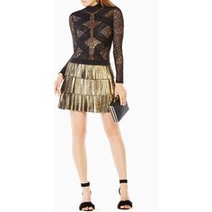 BCBGMAXAZRIA Blake Lace Bodysuit ($148) ❤ liked on Polyvore featuring intimates, shapewear and black